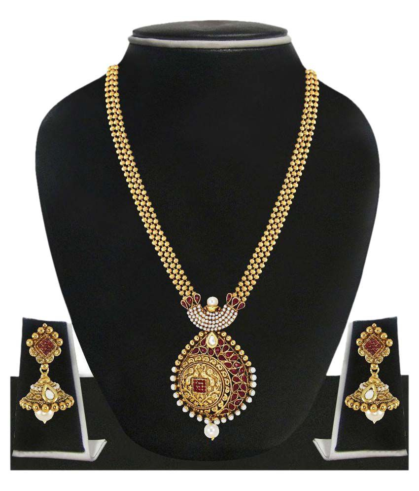 Zaveri Pearls Golden Designer Necklace Set