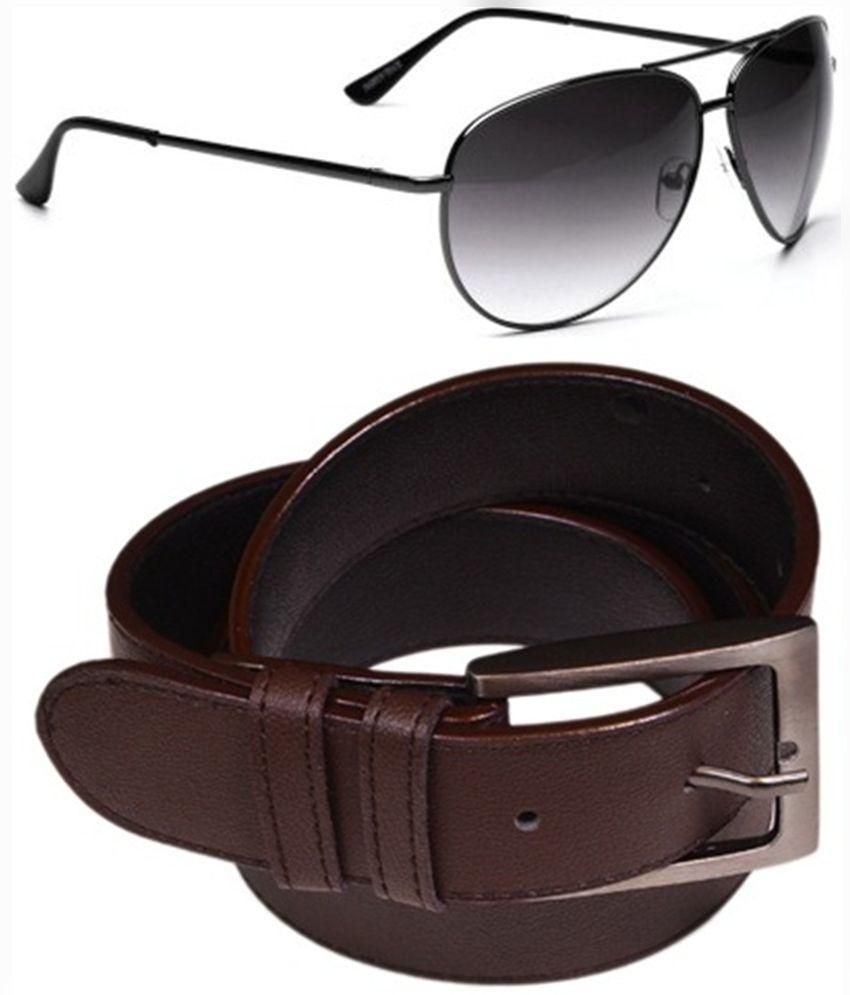 Daller Brown Pin Buckle Belt with Sungalsses for Men