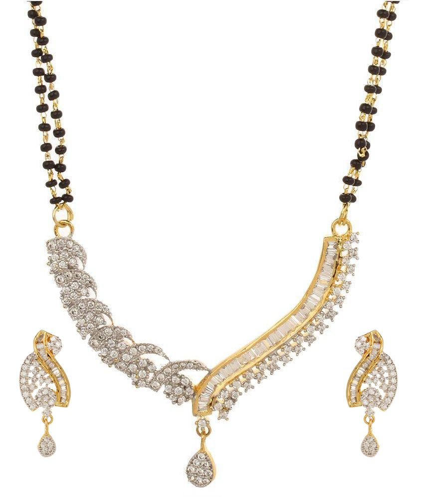 Adwitiya collection 24kt Gold Plated Contemporary Mangalsutra Set
