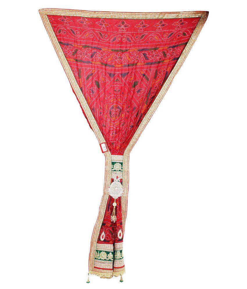 Ambika Fashion Red Art Silk Kutch Embroidered Dupattas