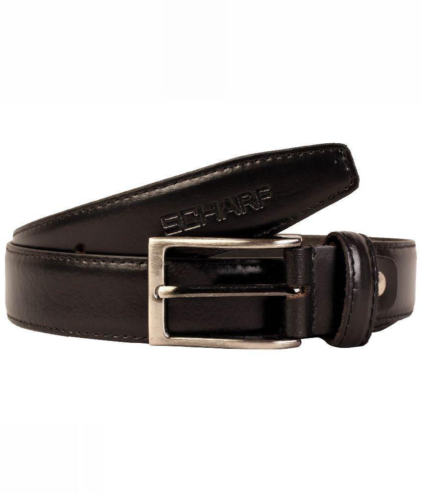 SCHARF Black Leather Pin Buckle Belt for Men