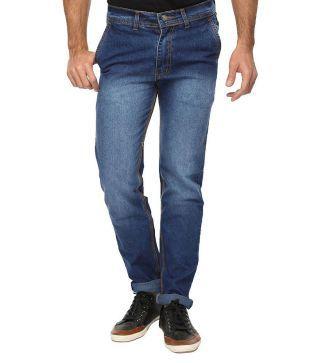 Wajbee Blue Slim Fit Faded Jeans