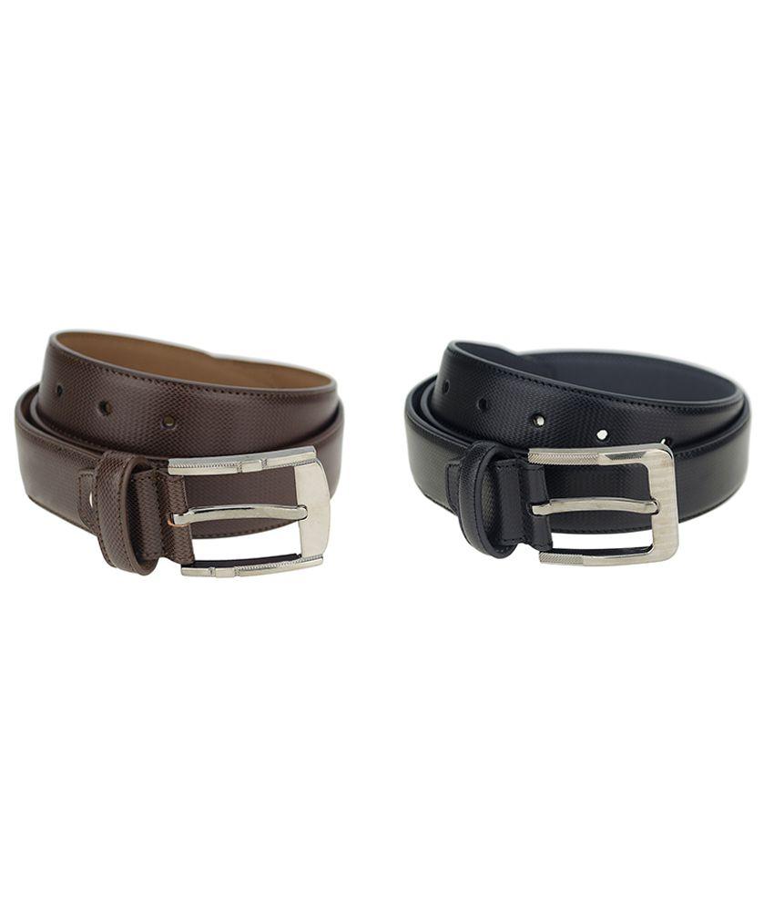 Zeva Black and Brown Leather Formal Belt for Men - Pack of 2