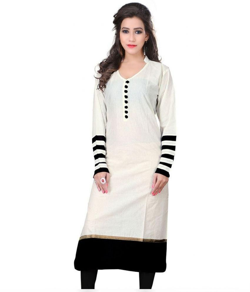 Radheshyam White Cotton Straight Kurti