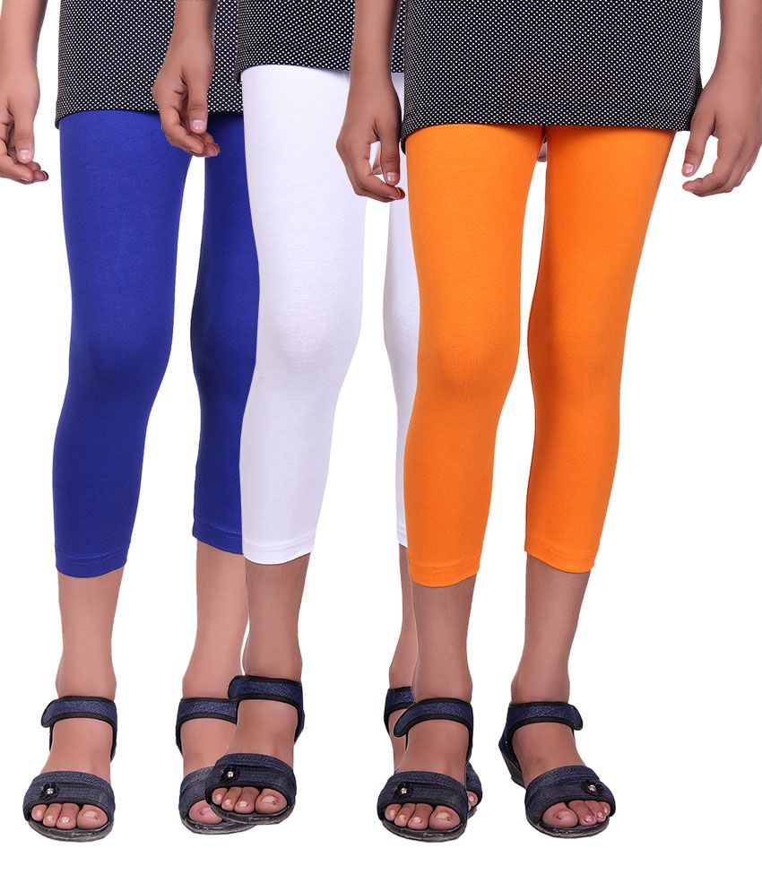 Alisha Multicolor Cotton Lycra Kids Capri - Pack of 3