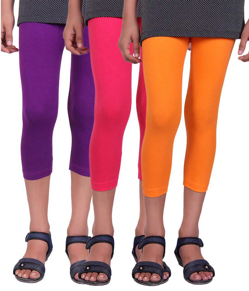 Alisha Multicolour Cotton Capri for Girls - Pack of 3
