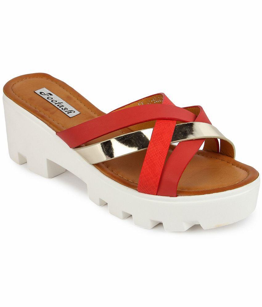 Footash Red Block Heels