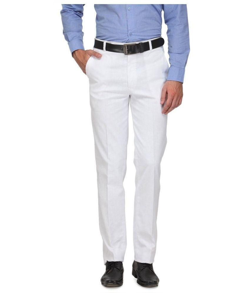 Frankline White Regular Fit Flat Trousers