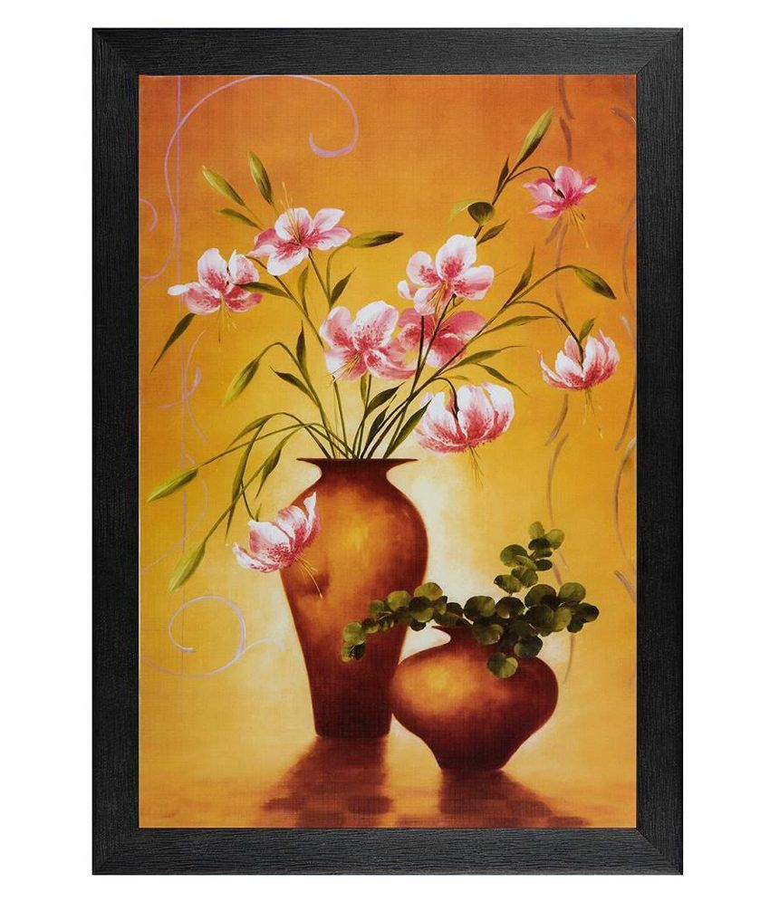 JAF Multicolour Floral Painting with Frame