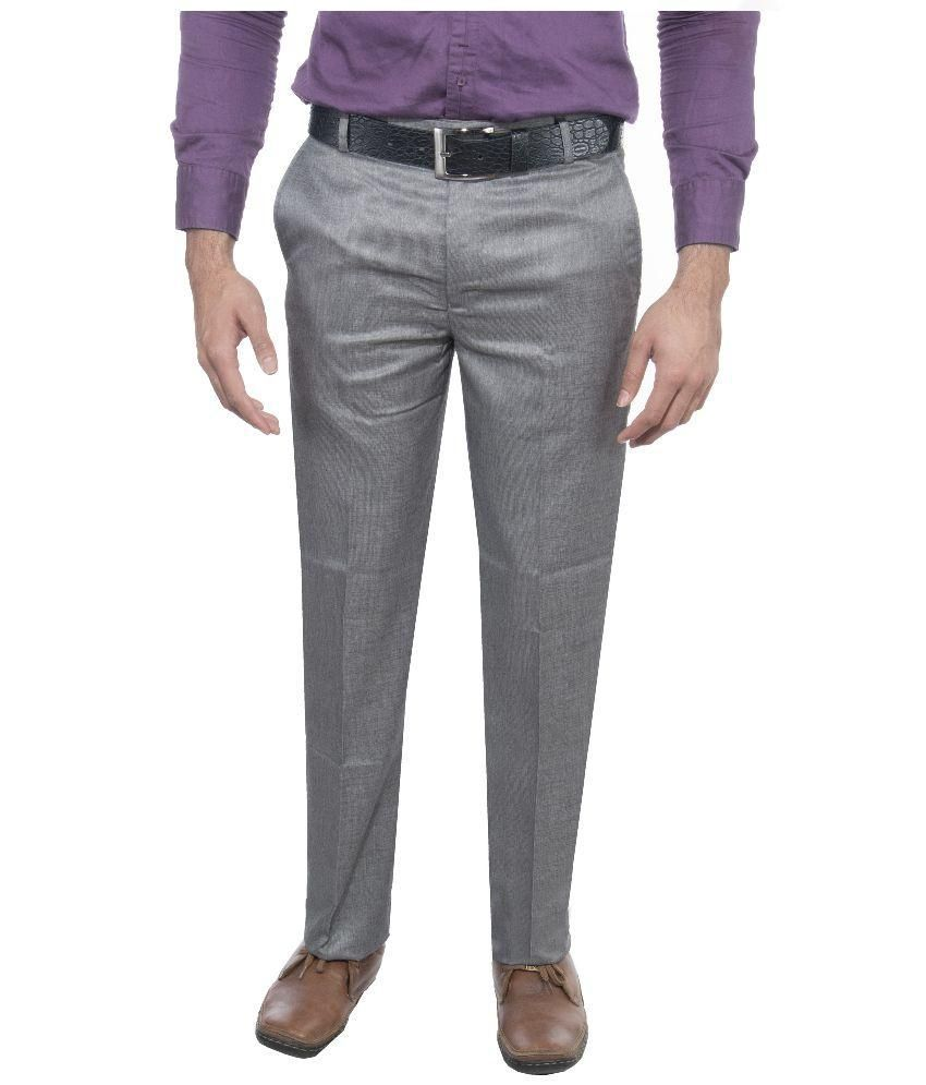 Ukies Grey Regular Fit Flat Trousers