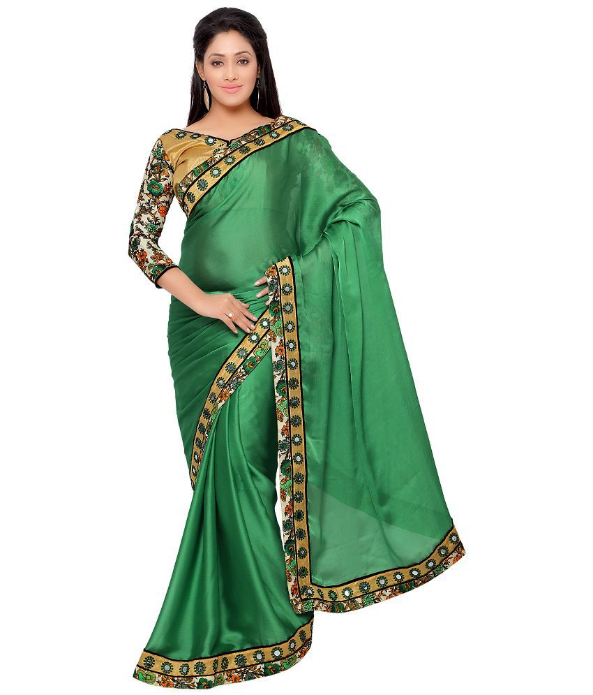 Apple Creation Green Satin Saree