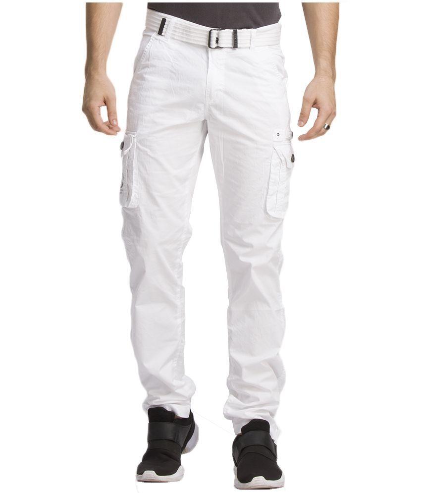 Beevee White Regular Flat Trouser