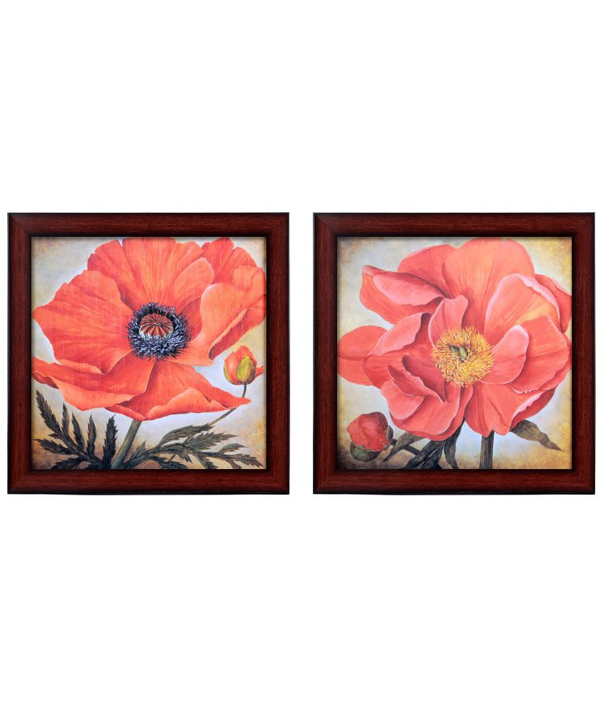 Elegant Arts & Frames Floral Wooden Wall Painting - Pack of 2