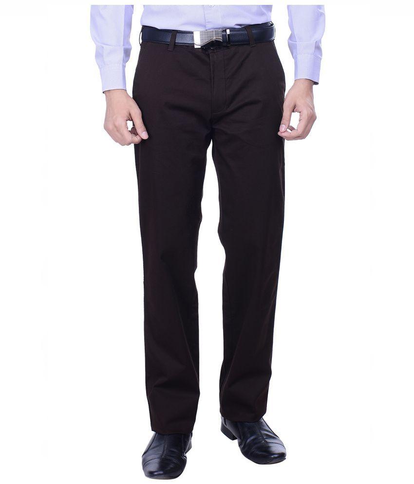 Hoffmen Brown Slim Fit Flat Trousers