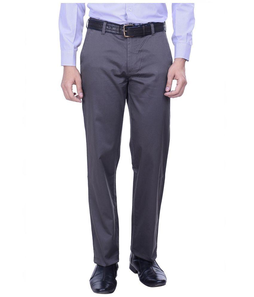 Hoffmen Grey Slim Fit Flat Trousers