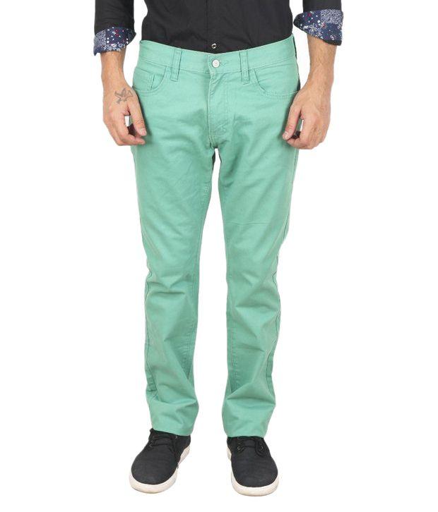 Samapple Green Slim Fit Flat Trousers