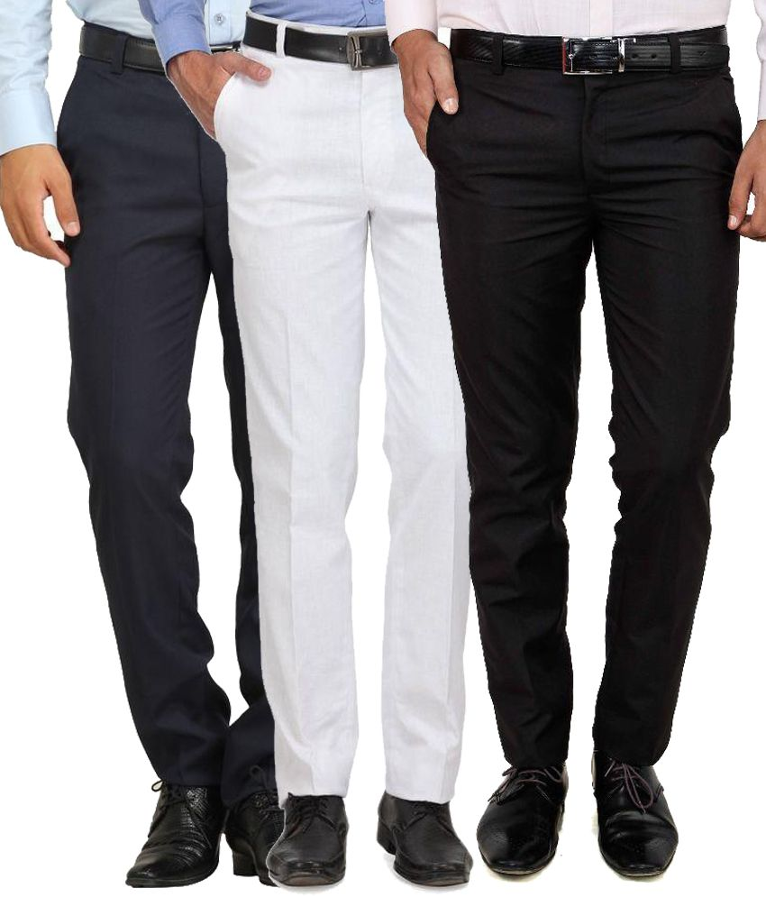 Frankline Multi Regular Fit Flat Trousers - Pack Of 3