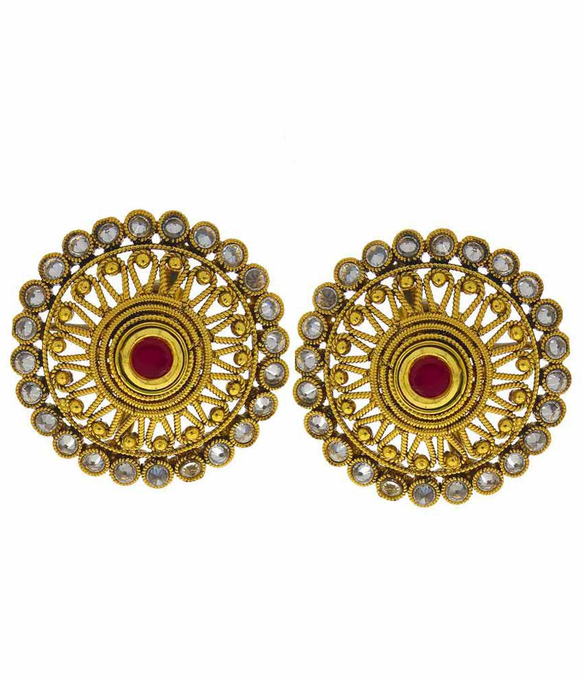 Anuradha Art Alloy Gold Plating Cubiz Zirconia Studded Maroon Coloured Earrings