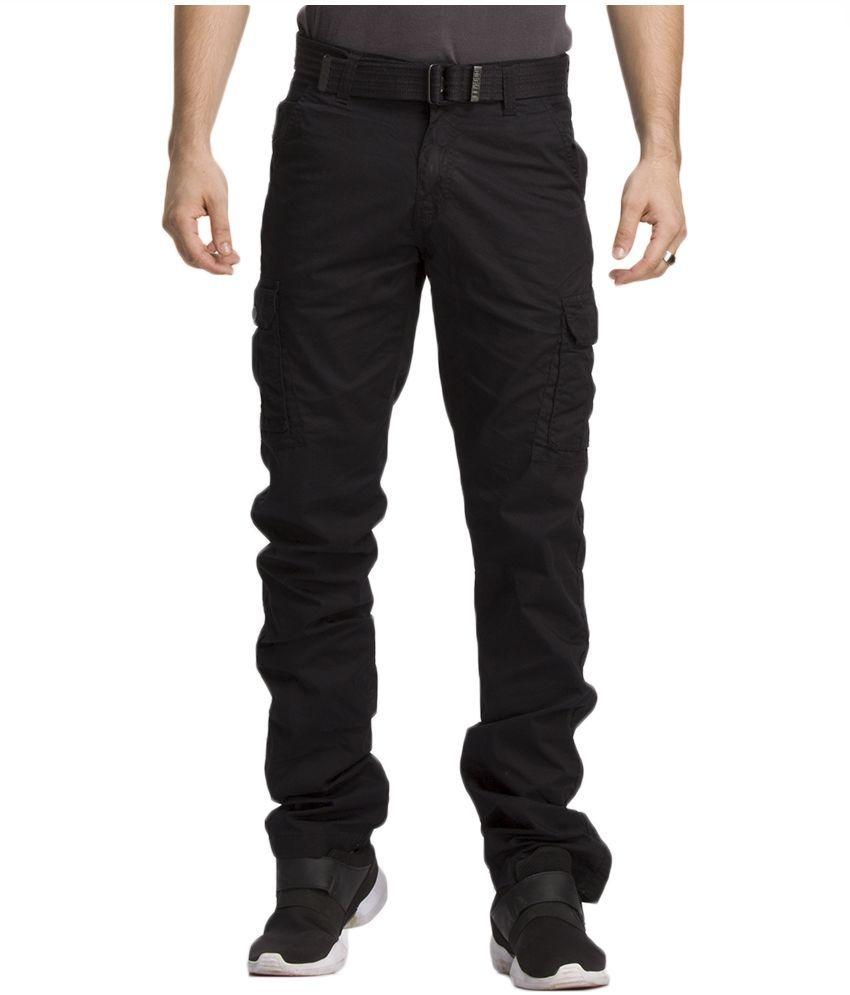 Beevee Black Regular Fit Cargos With Belt
