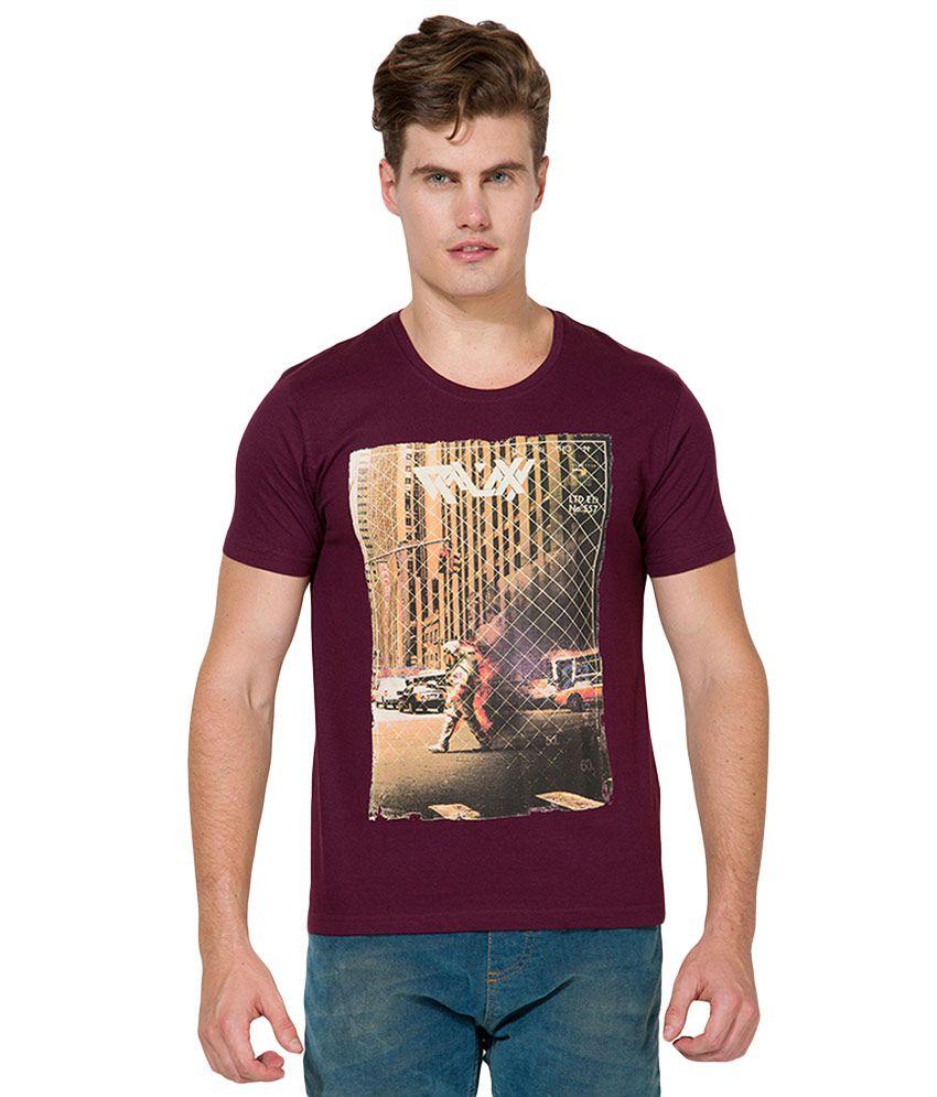 Locomotive Maroon Round Neck T Shirt