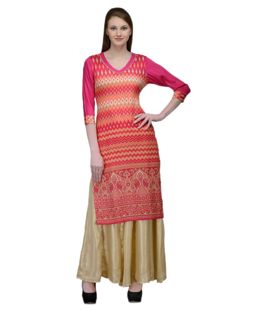 Natty India Multicoloured Cotton Kurti with Palazzo