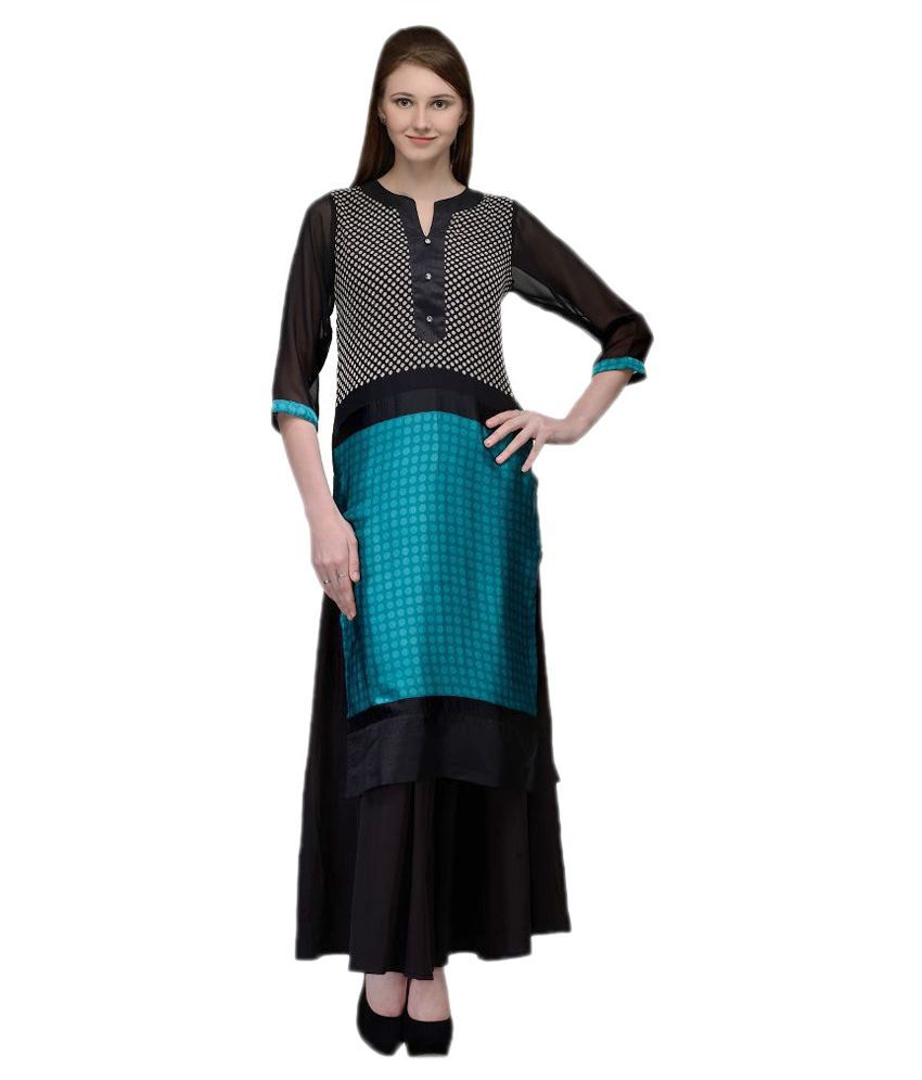 Natty India Multicoloured Georgette Kurti with Palazzo
