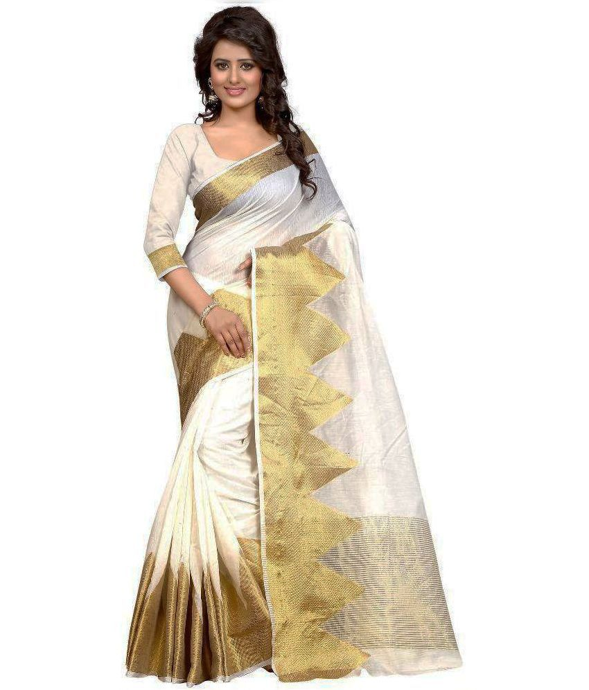 Pulse White Polycotton Saree