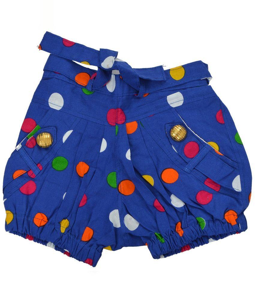 Shreemangalammart Blue Printed Cotton Shorts