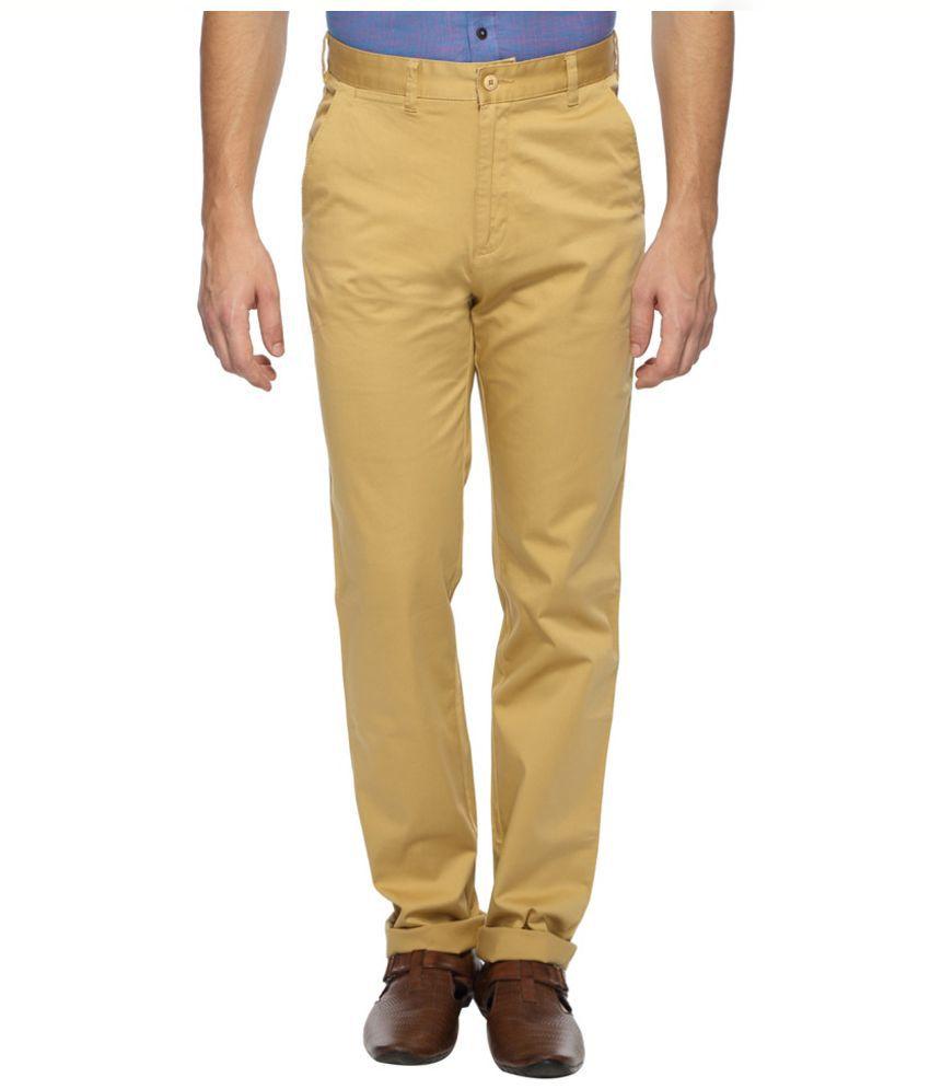 Wills & Scott Yellow Regular Fit Flat Trousers