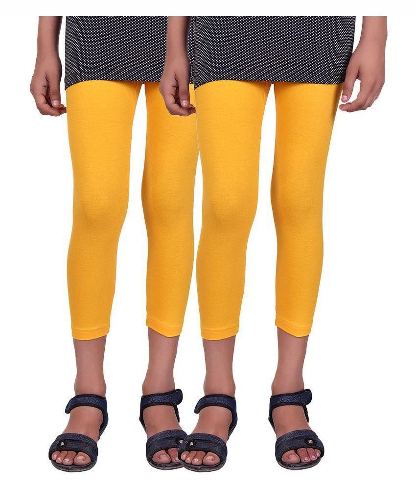 Alisha Yellow Cotton Lycra Capris for Girls - Pack of 2