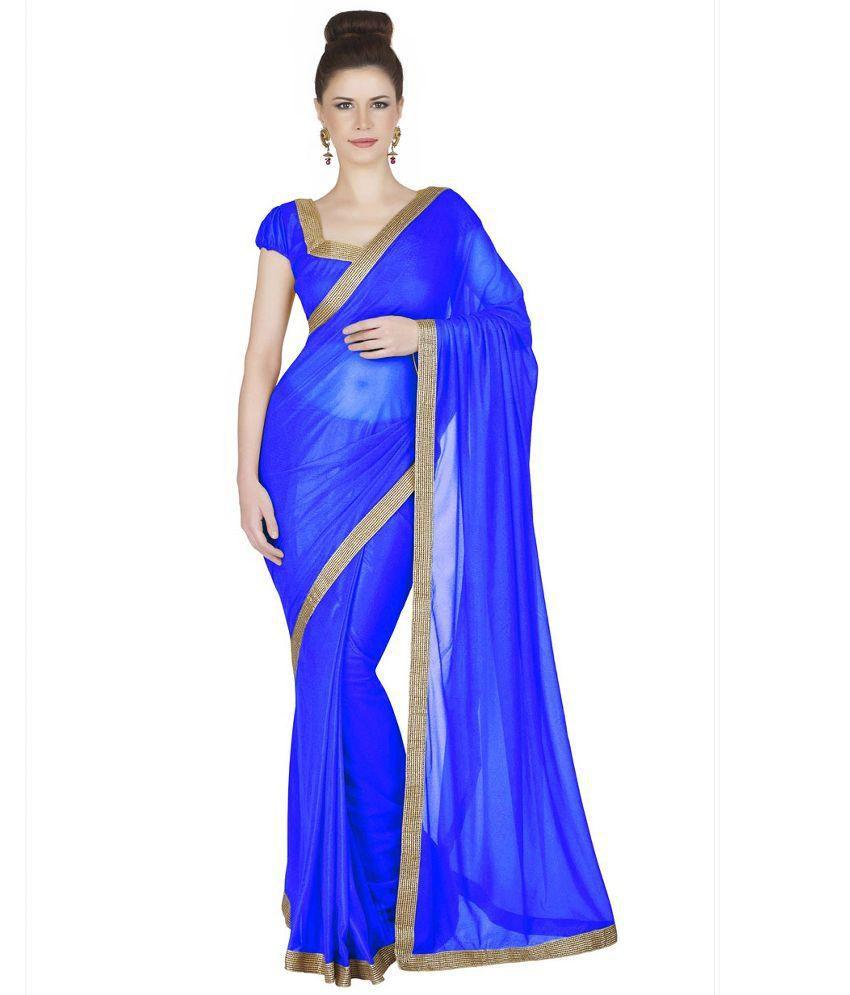 EthnicandStyle Designer Sarees Blue Chiffon Saree