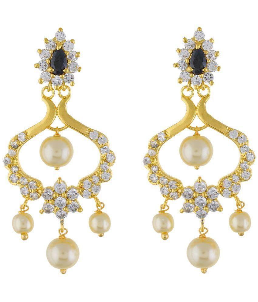 Jewel Planet Alloy Rhodium Plating Cubiz Zirconia Studded Golden Colored Earrings