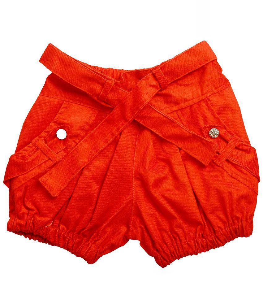 Shreemangalammart Orange Cotton Shorts for Girls