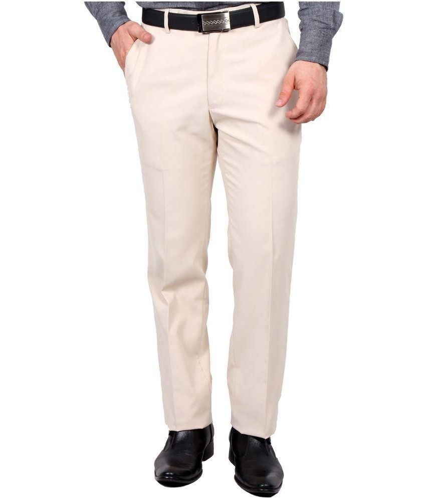 Ukies Beige Regular Fit Flat Trousers