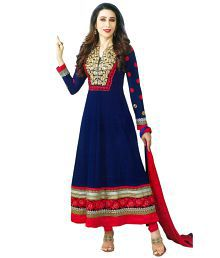 Dhruva Fab Blue Georgette Anarkali Semi Stitched Suit