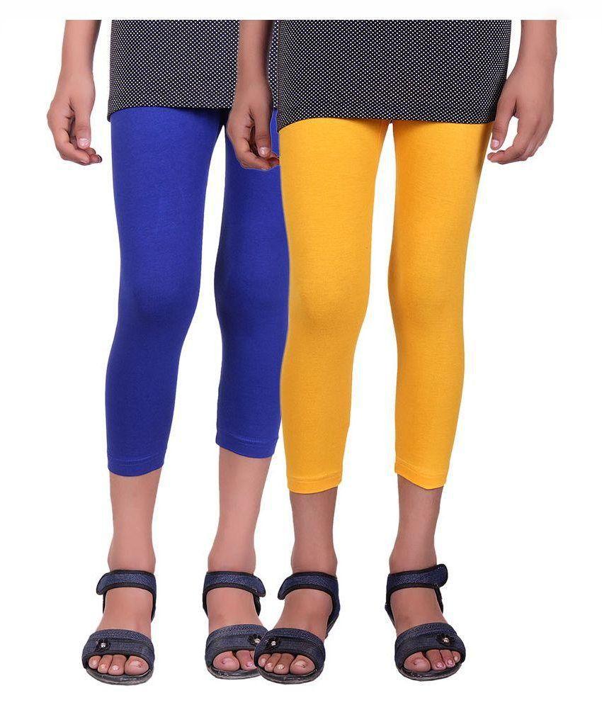 Alisha Multicolour Cotton Lycra Capris for Girls - Pack of 2