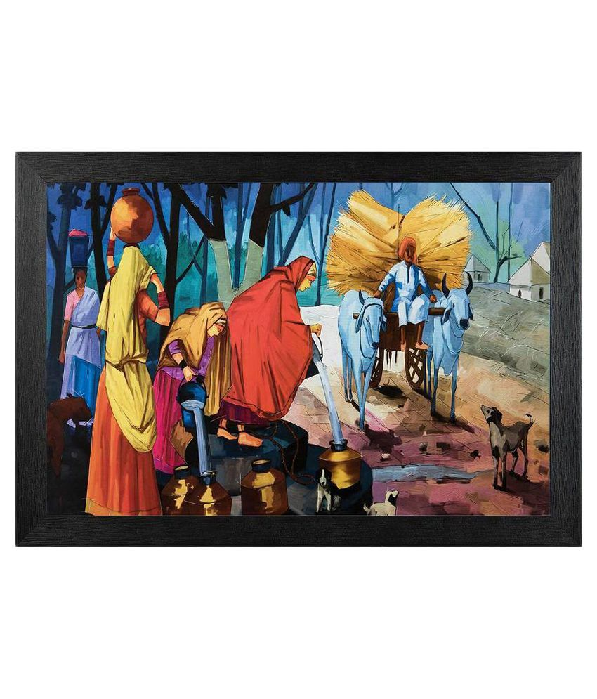 JAF Multicolour Painting with Wooden Frame