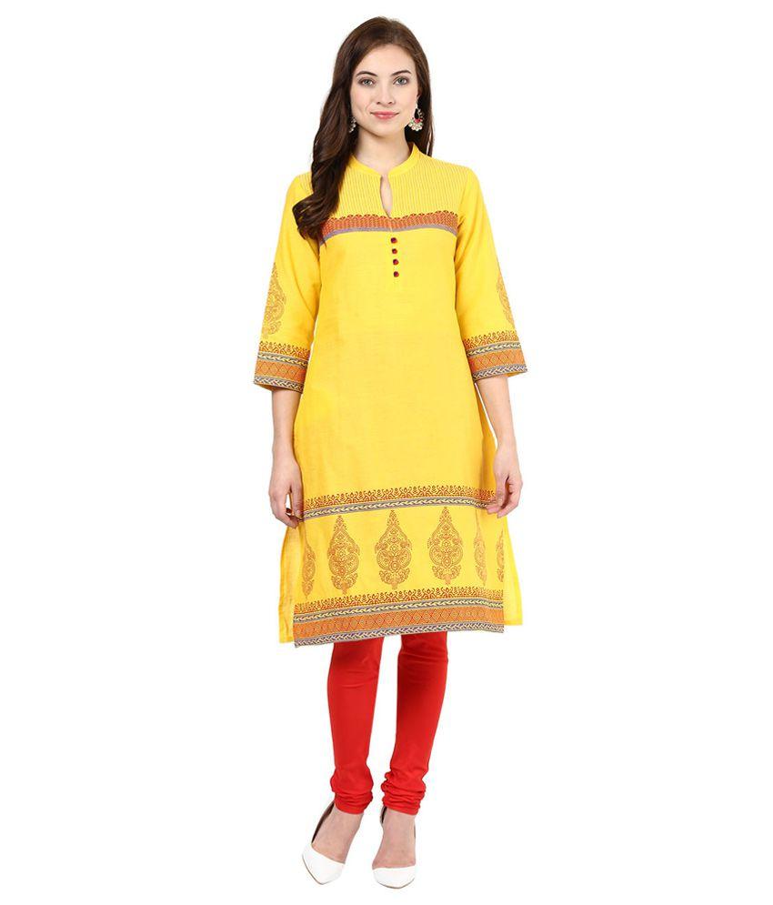 RANGMANCH by Pantaloons Yellow Cotton Kurti