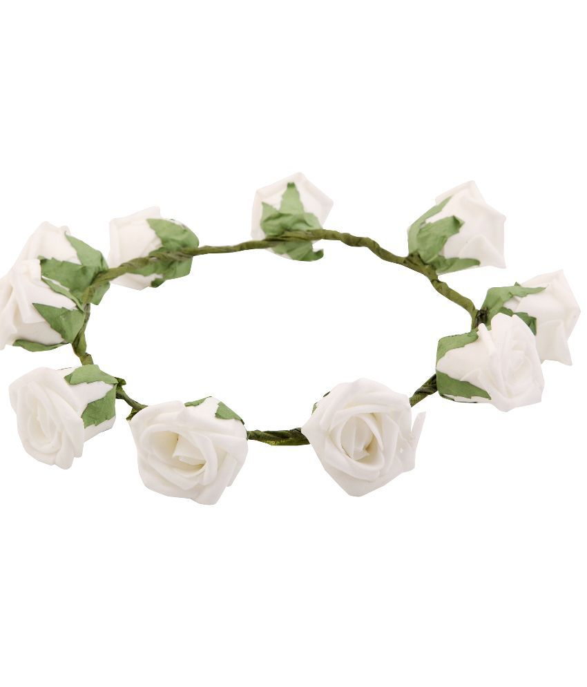 Sanjog white rose green leaf gorgeous flower tiaracrown small sanjog white rose green leaf gorgeous flower tiaracrown small izmirmasajfo