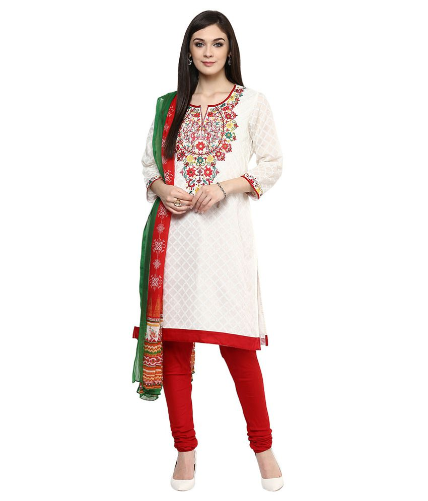 TRISHAA by Pantaloons OFF WHITE Chanderi Salwar Suit