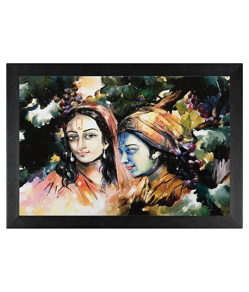 JAF Radha Krishan Textured Wooden Framed Art Painting