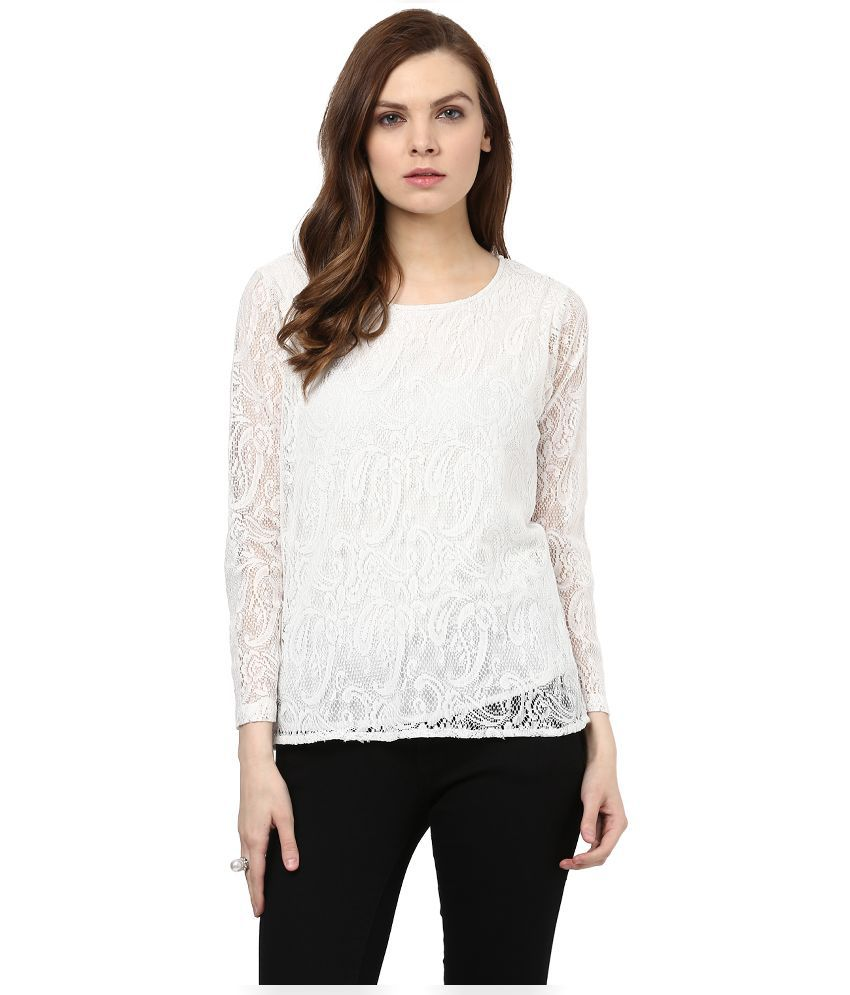 d6688883bbf Color Cocktail White Lace Tops - Buy Color Cocktail White Lace Tops Online  at Best Prices in India on Snapdeal