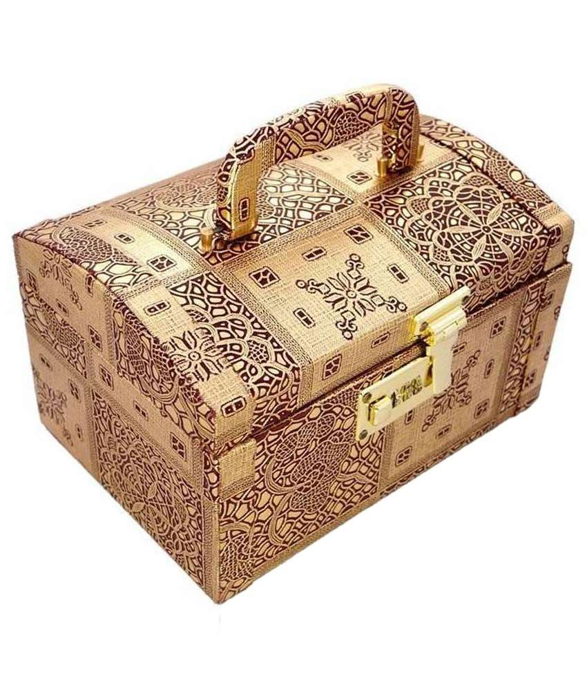 Mansi International Wood Gold Plating Stones Studded Gold Coloured Jewellery Box