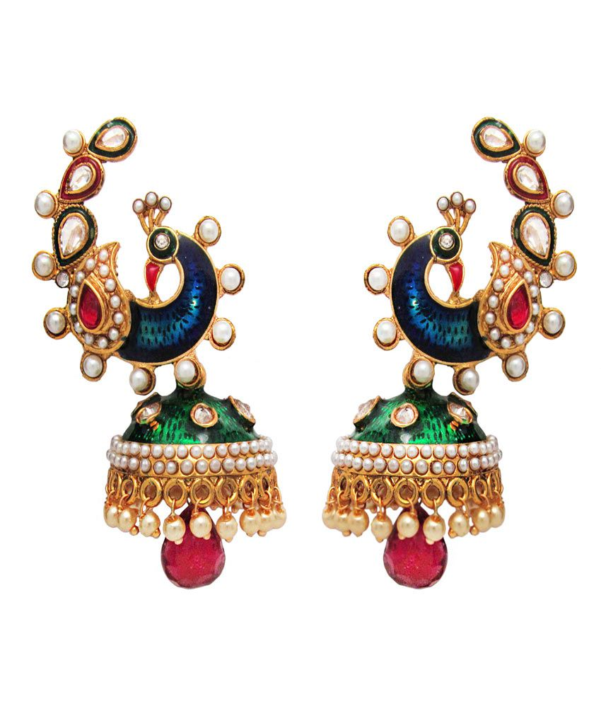 Om Jewells Traditional Ethnic Multicolour  Peacock Jhumki Earrings with Crystals stones for Women