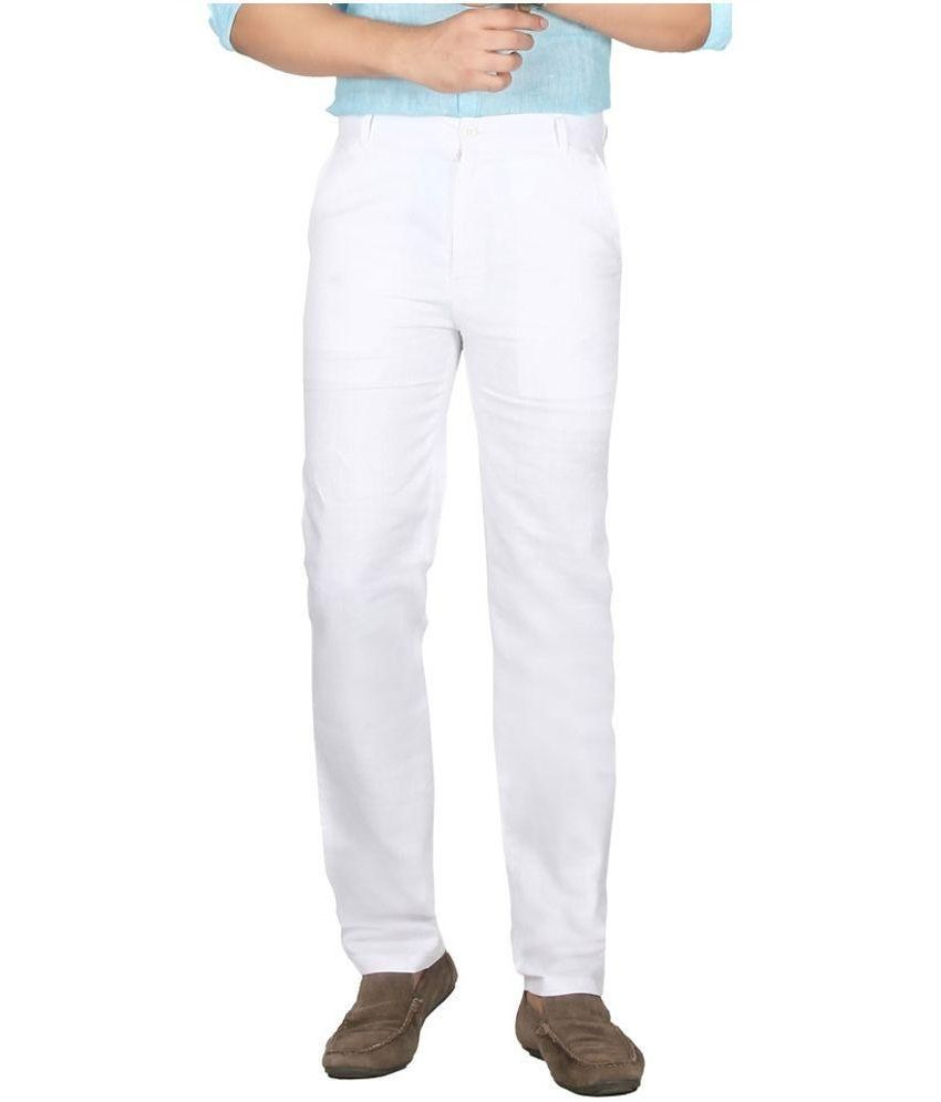 Ukies White Regular Fit Flat Trousers