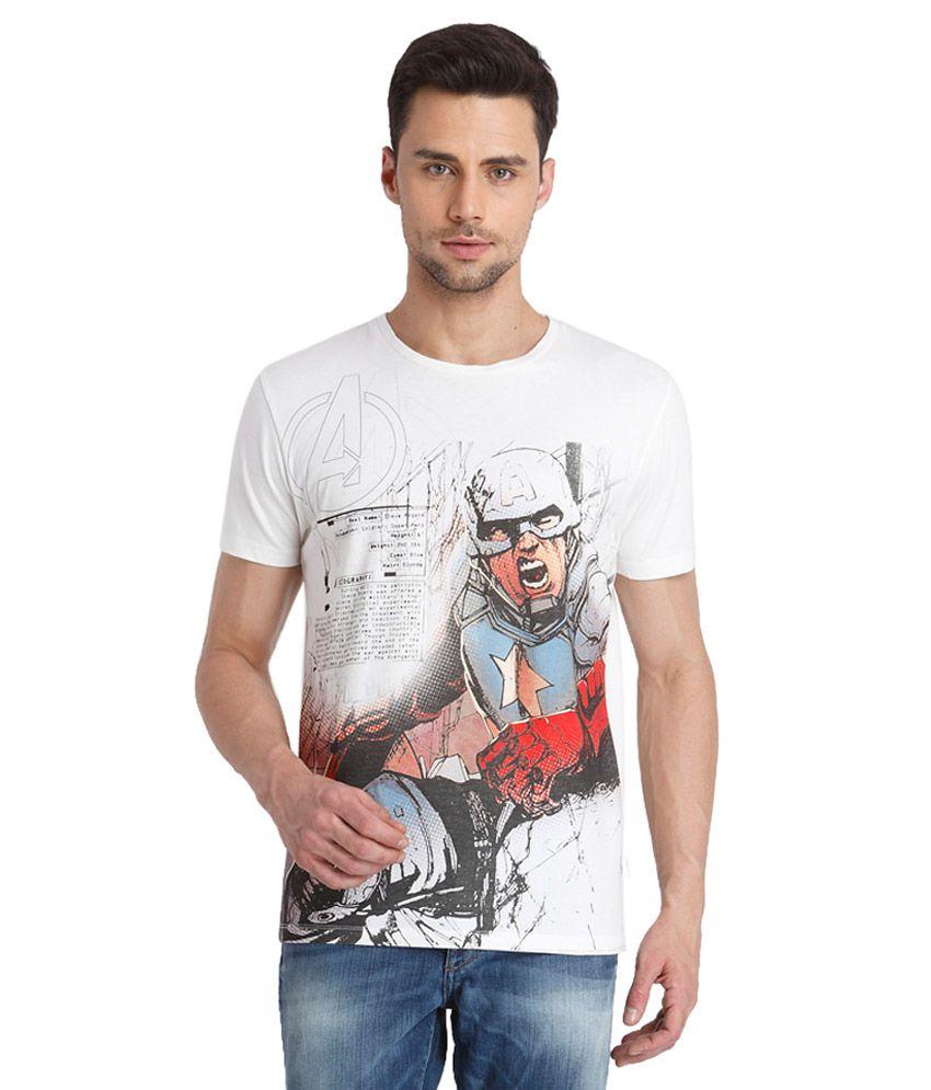 Jack & Jones White Round Neck Printed T Shirt