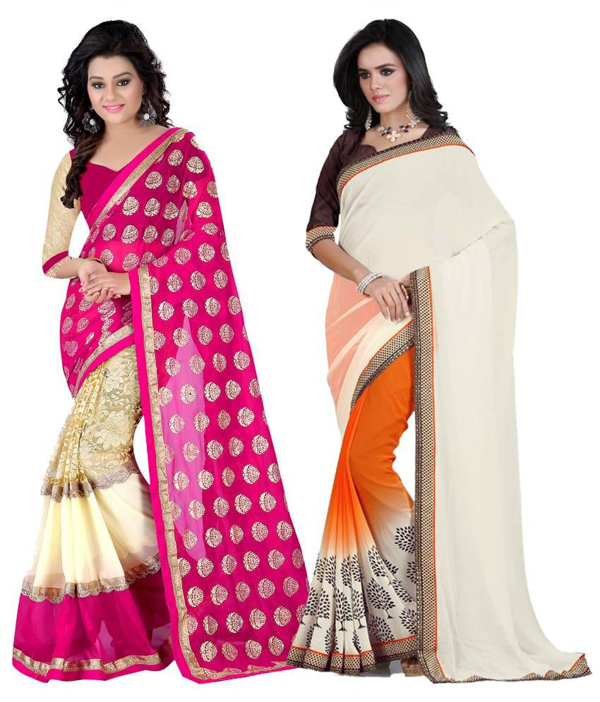 K.C Multicoloured Georgette Saree Combos