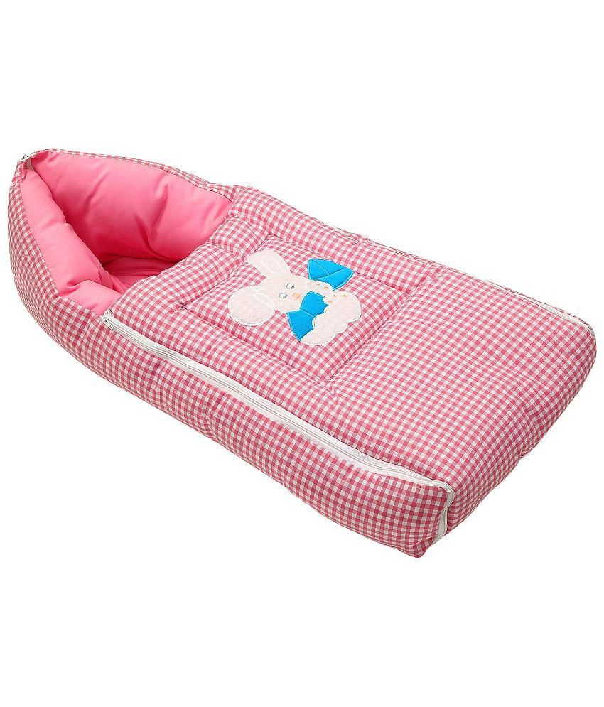 Littly 3-in-1 Multipurpose Premium Quality Cotton Sleeping Bag Bag (Pink; 70 cm x 35 cm) Baby Blanket/Baby Swaddle/Baby Wrap