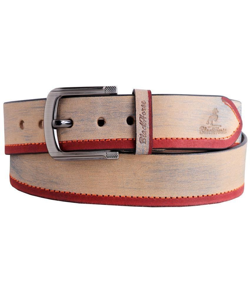 Black Horse Beige Leather Belt For Men