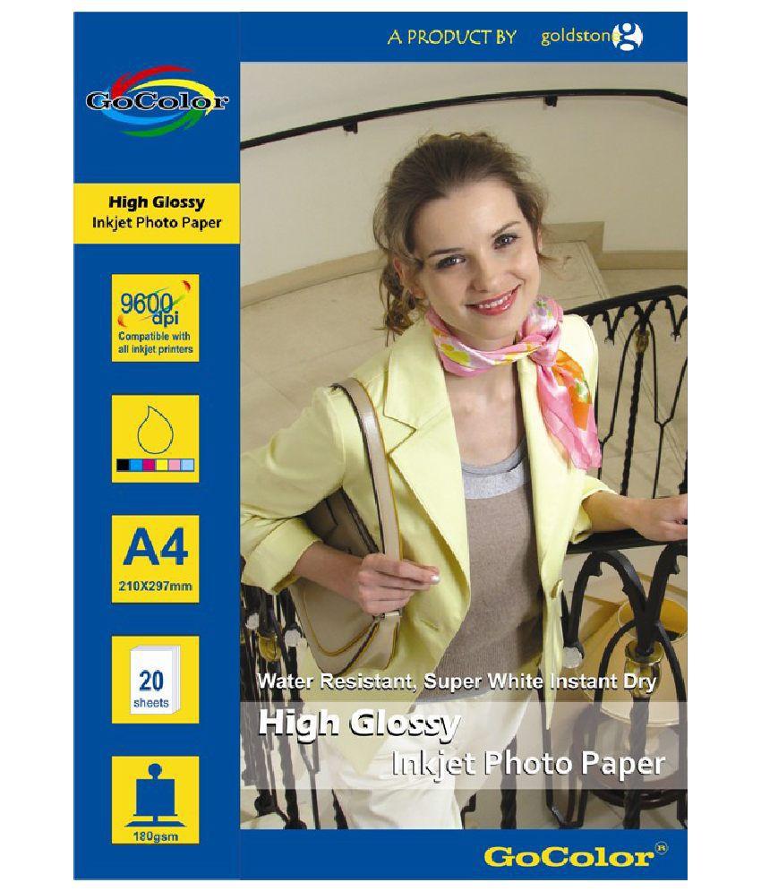 Gocolor High Glossy Inkjet Photo Paper 180 GSM 40 Sheets A4 Size
